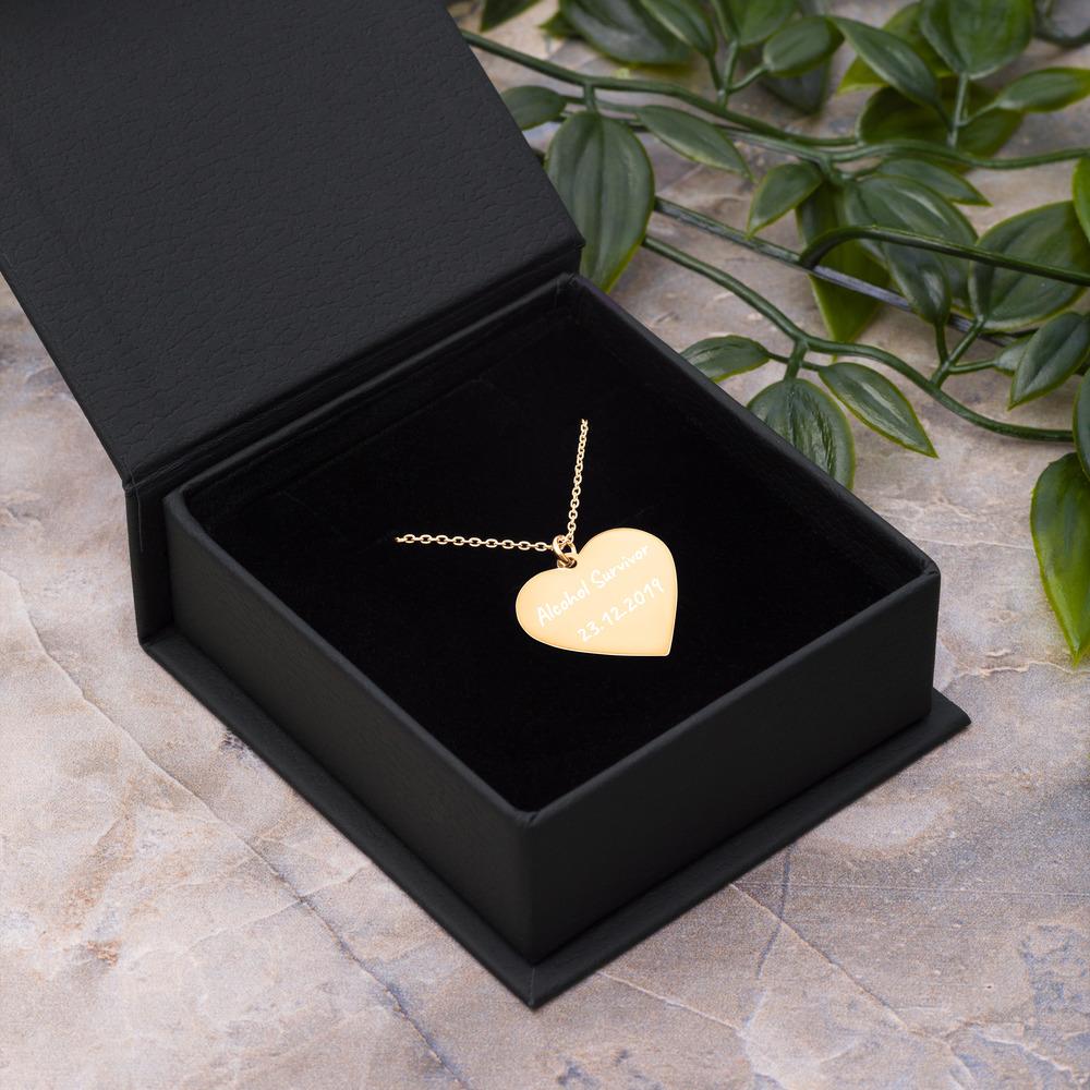 Alcohol Survivor Heart Necklace – Custom Quit Drinking Date